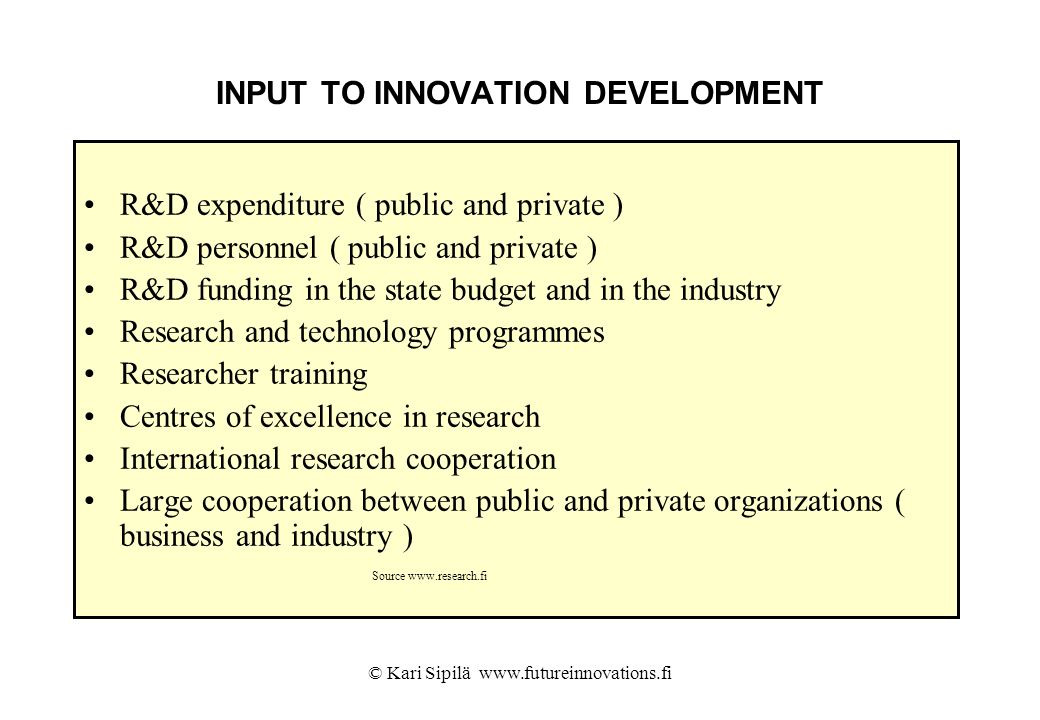 INPUT TO INNOVATION DEVELOPMENT