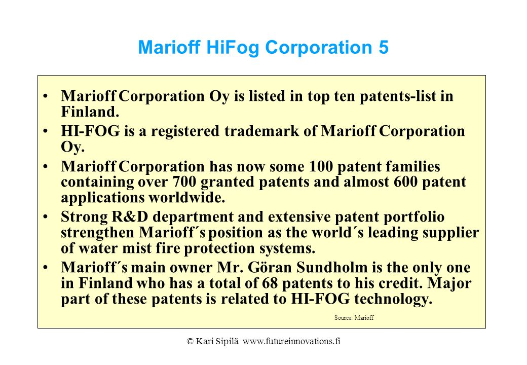 Marioff HiFog Corporation 5