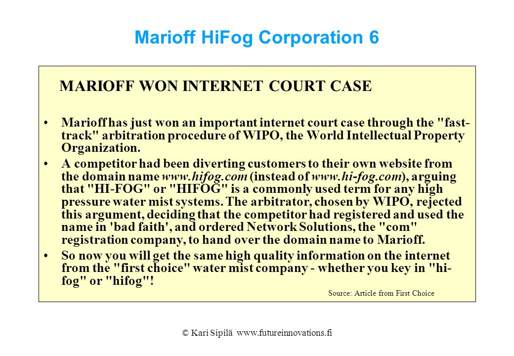 Marioff HiFog Corporation 6
