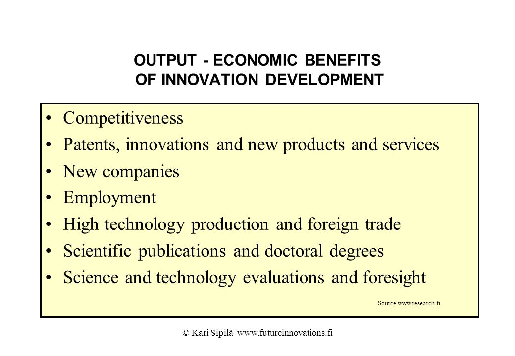 OUTPUT - ECONOMIC BENEFITS OF INNOVATION DEVELOPMENT