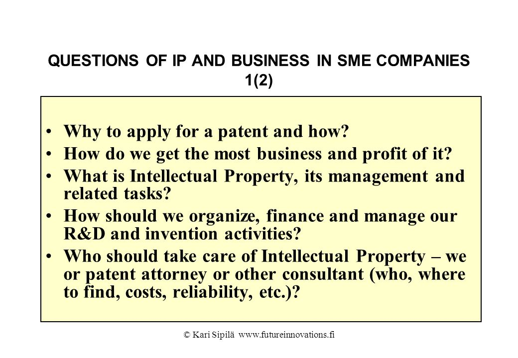 QUESTIONS OF IP AND BUSINESS IN SME COMPANIES 1(2)