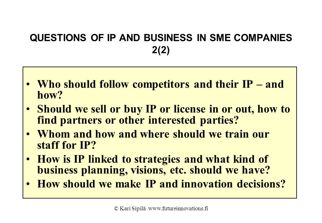 QUESTIONS OF IP AND BUSINESS IN SME COMPANIES 2(2)