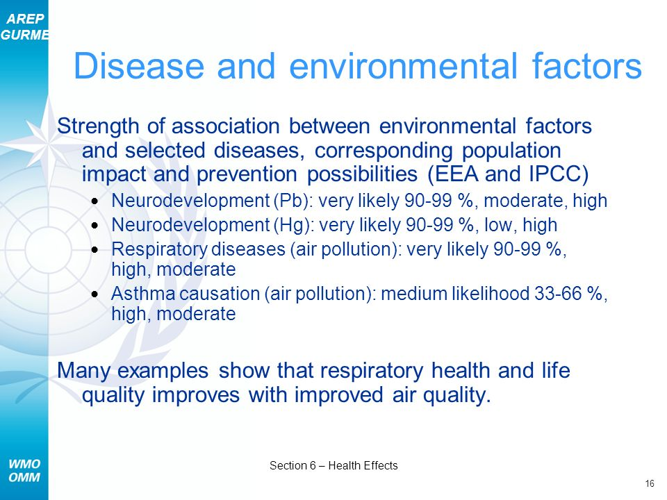 Disease and environmental factors