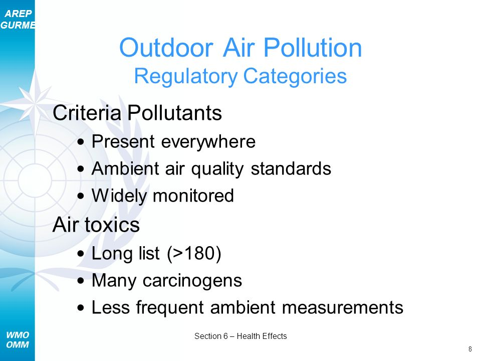 Outdoor Air Pollution Regulatory Categories