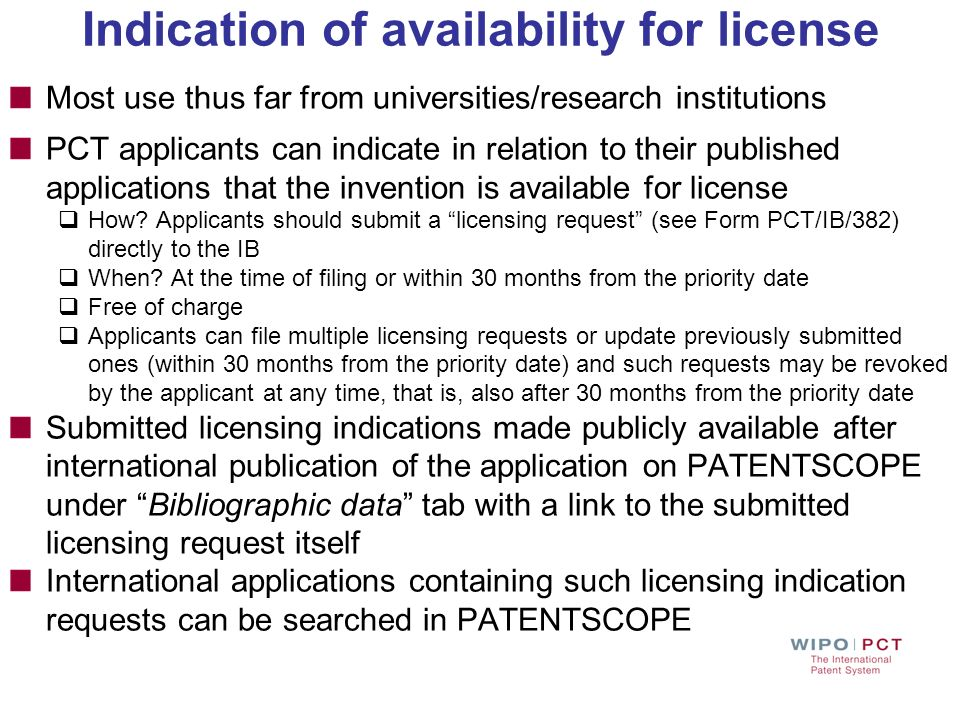 Indication of availability for license