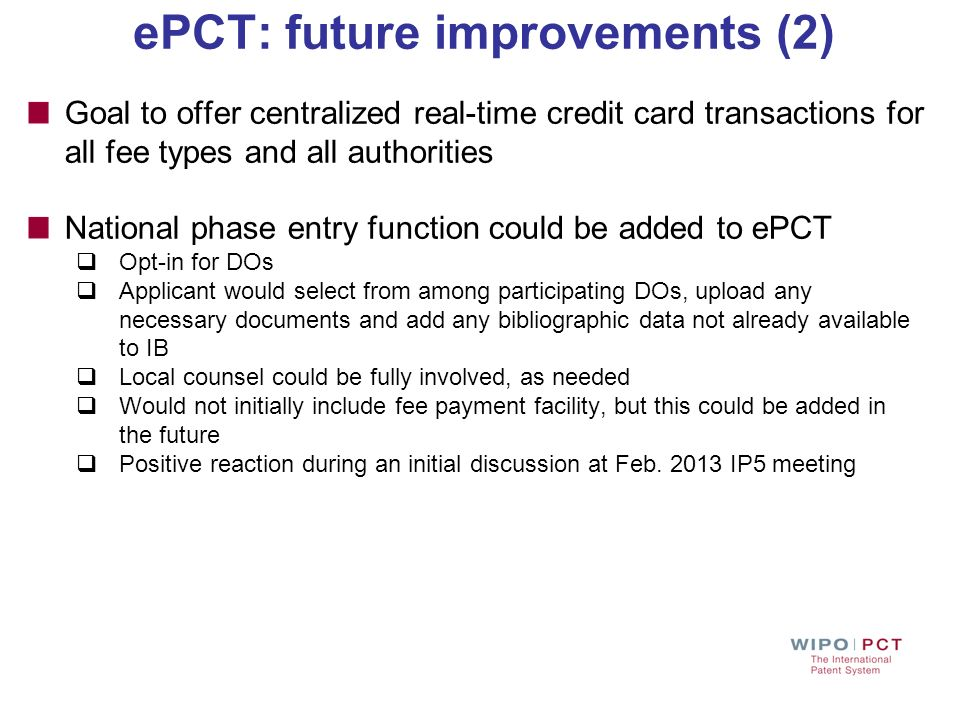 ePCT: future improvements (2)