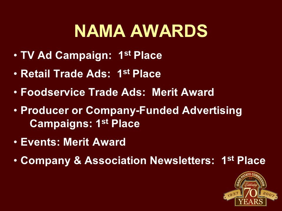 NAMA AWARDS TV Ad Campaign: 1st Place Retail Trade Ads: 1st Place