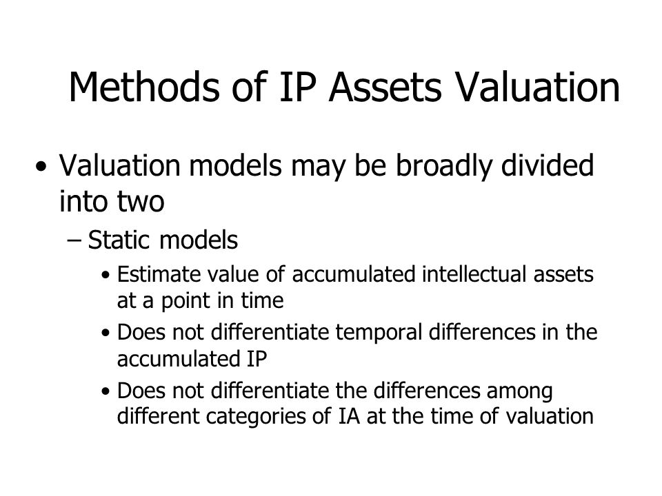 Methods of IP Assets Valuation
