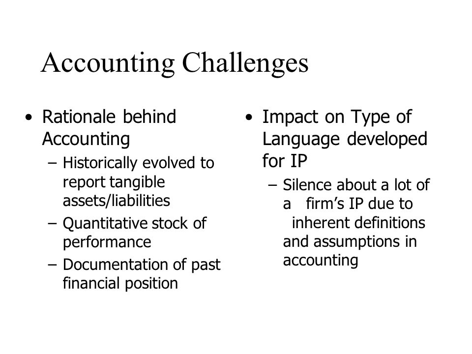 Accounting Challenges