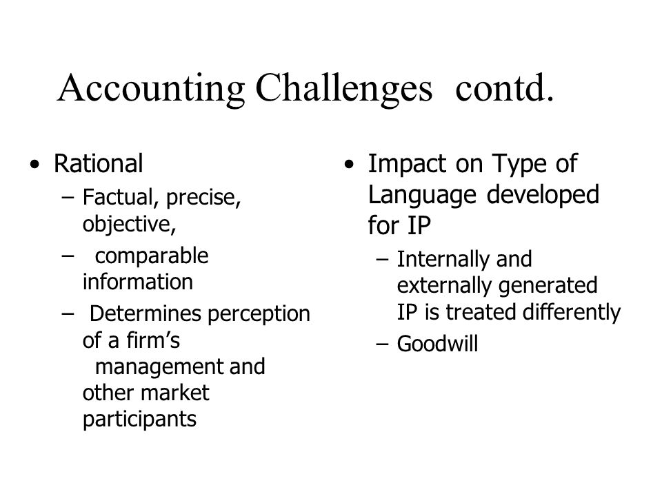 Accounting Challenges contd.