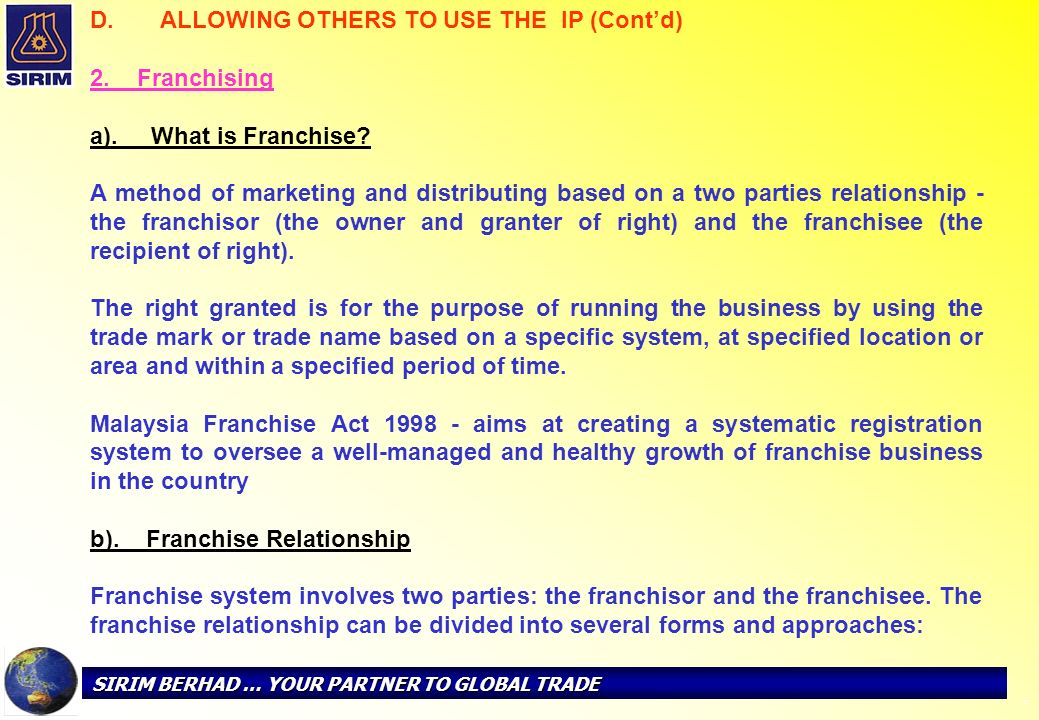 ALLOWING OTHERS TO USE THE IP (Cont'd) 2. Franchising