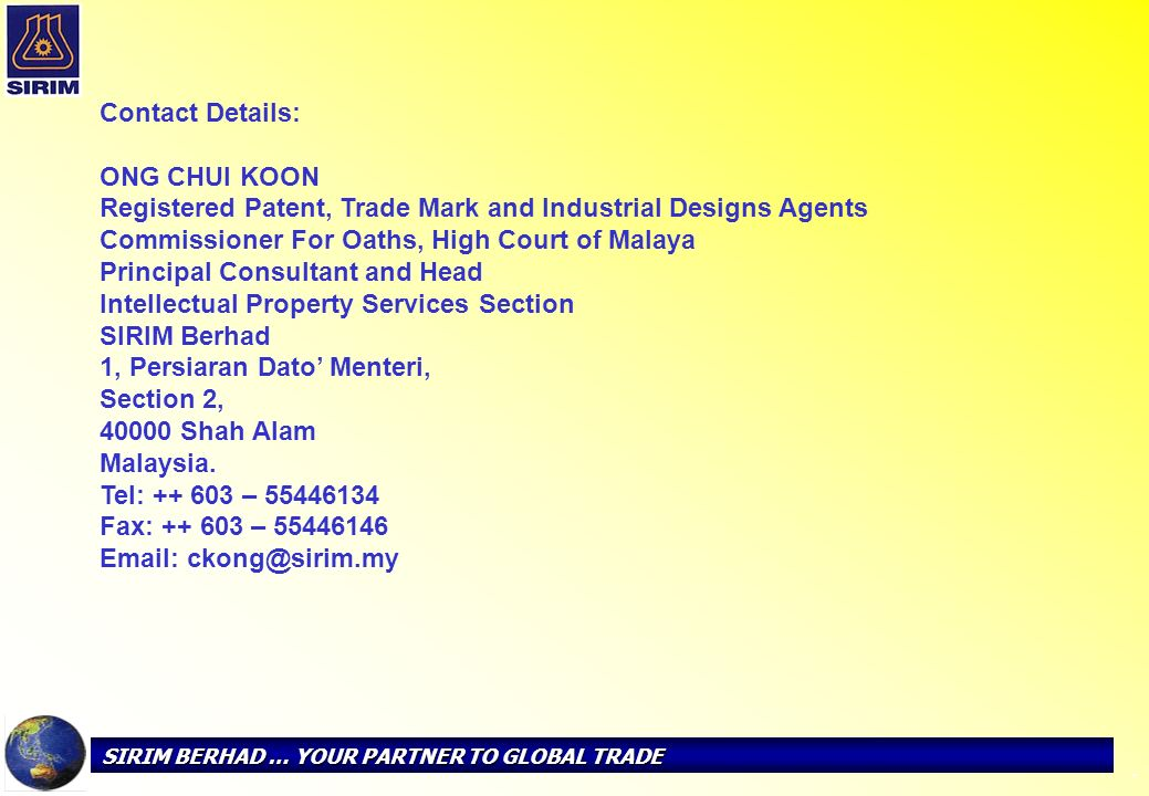 Registered Patent, Trade Mark and Industrial Designs Agents