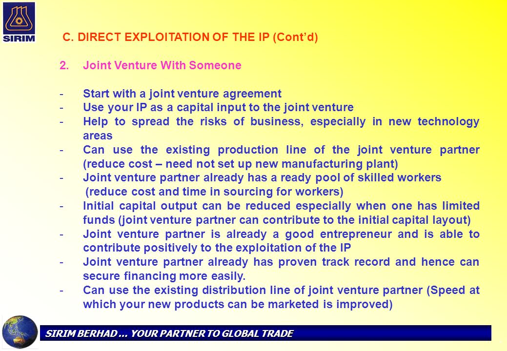 Joint Venture With Someone Start with a joint venture agreement