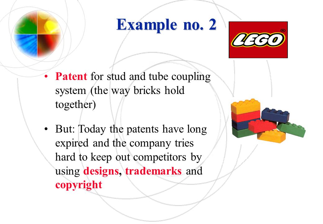 Example no. 2 Patent for stud and tube coupling system (the way bricks hold together)