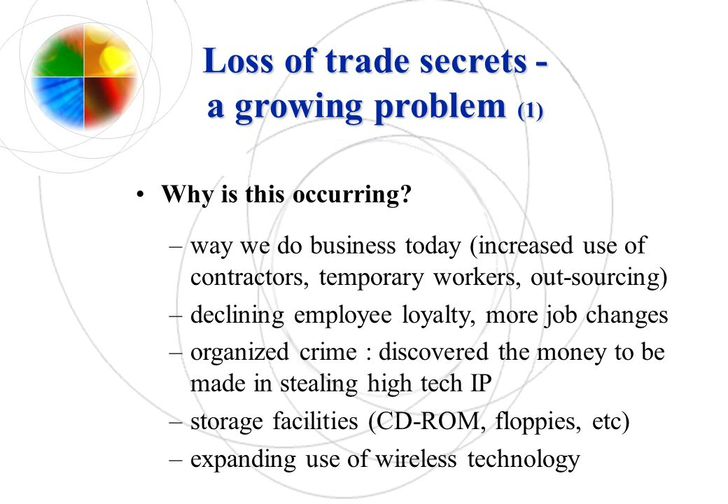 Loss of trade secrets - a growing problem (1)