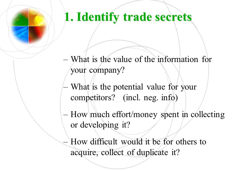 1. Identify trade secrets
