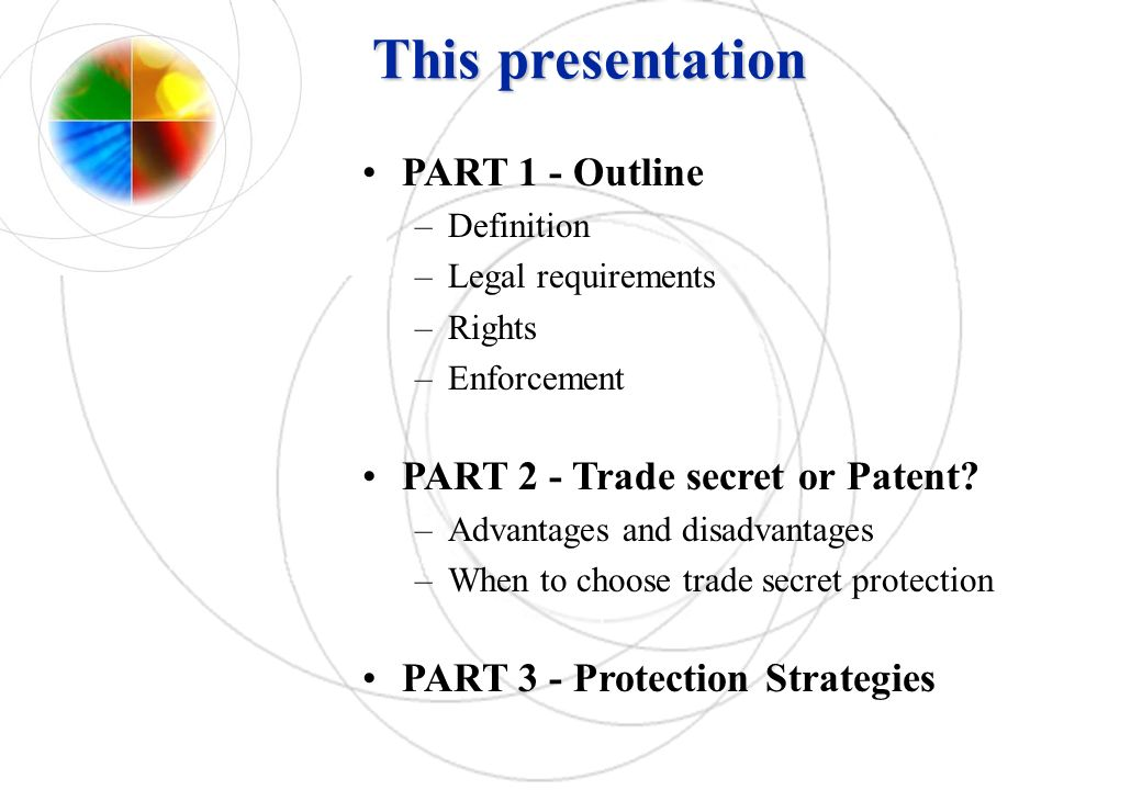 This presentation PART 1 - Outline PART 2 - Trade secret or Patent