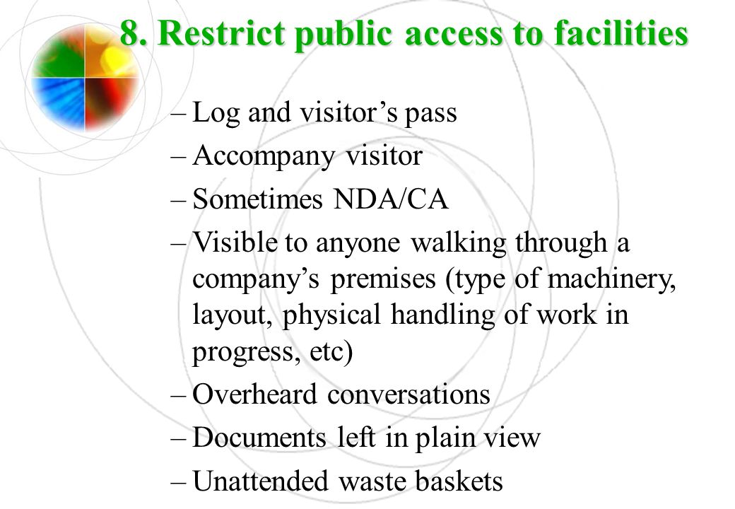 8. Restrict public access to facilities