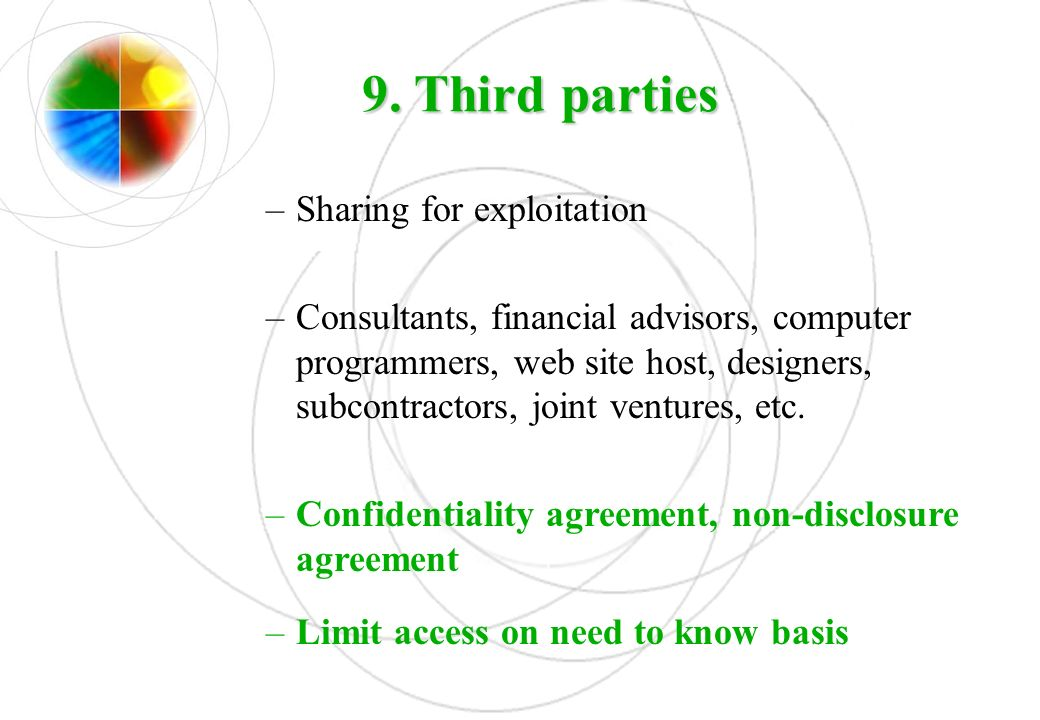 9. Third parties Sharing for exploitation