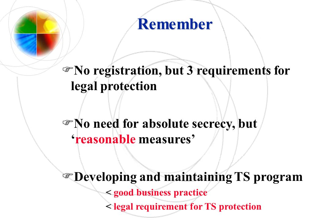 Remember No registration, but 3 requirements for legal protection