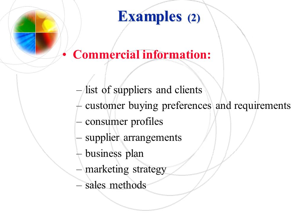 Examples (2) Commercial information: list of suppliers and clients