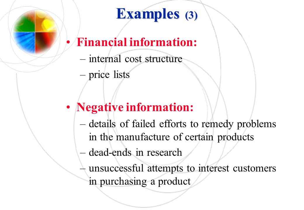 Examples (3) Financial information: Negative information: