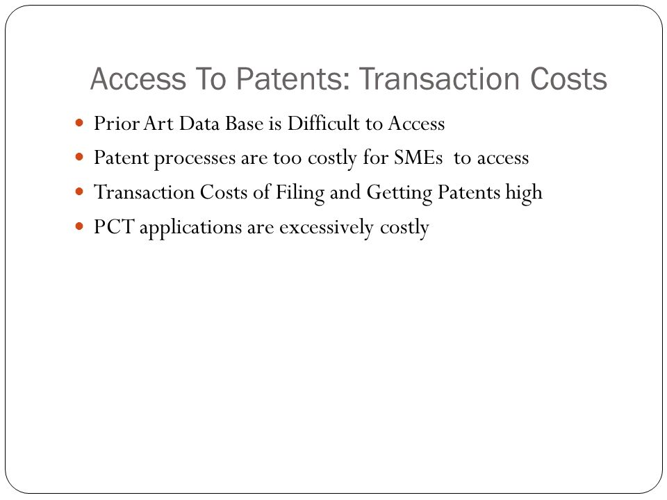 Access To Patents: Transaction Costs