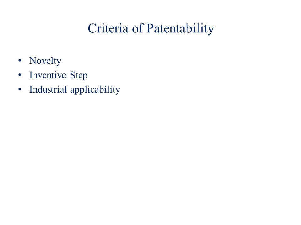 Criteria of Patentability