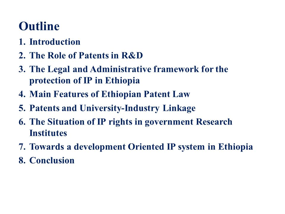 Outline Introduction The Role of Patents in R&D
