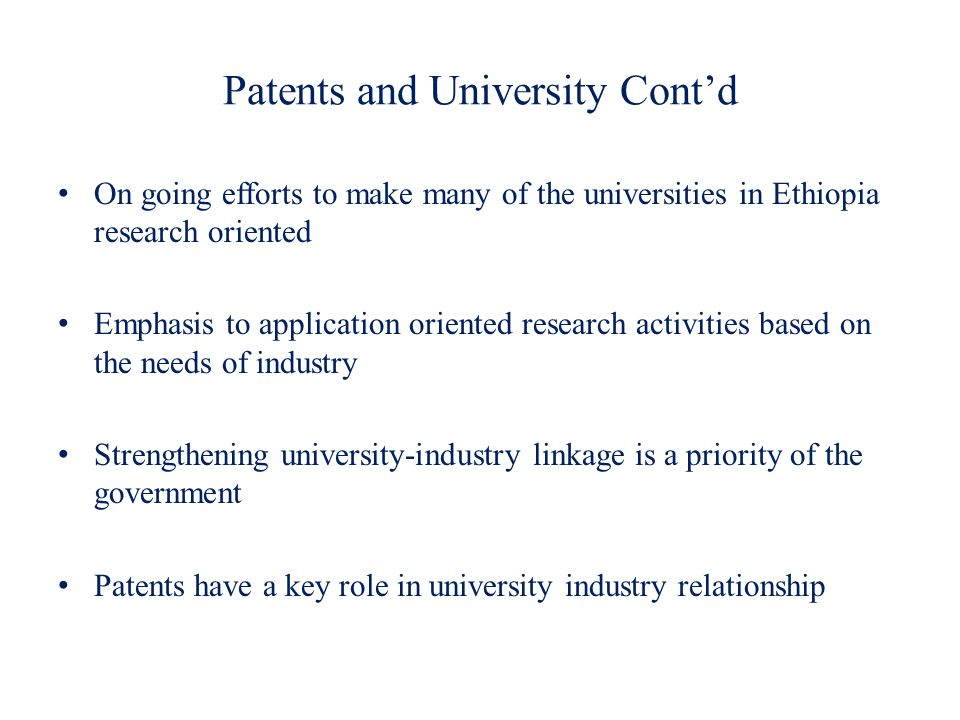 Patents and University Cont'd