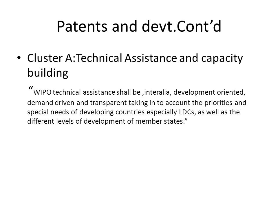 Patents and devt.Cont'd