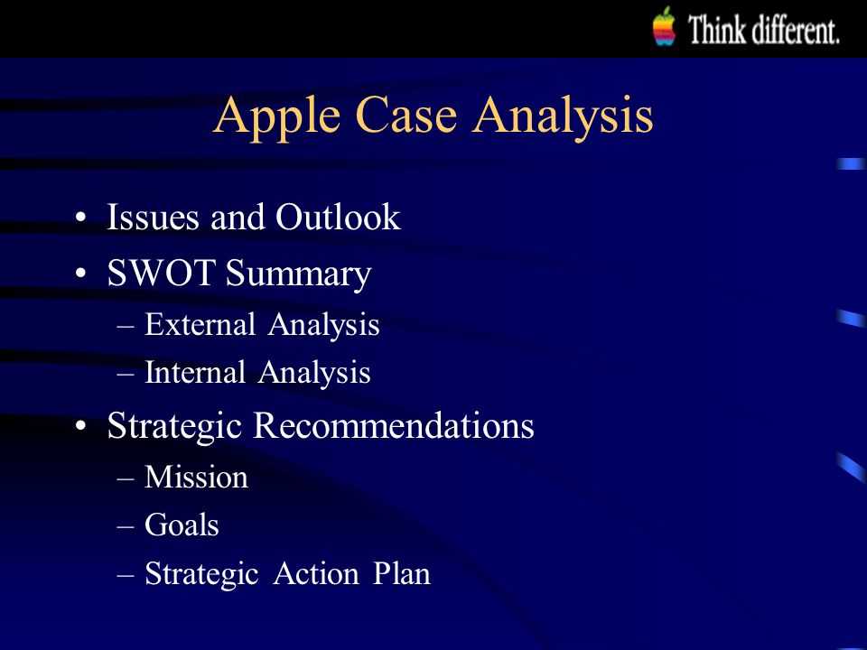 apple case analysis Apple products are significantly costly, they targeted a certain segment of the market by producing high quality products which are potentially durable.