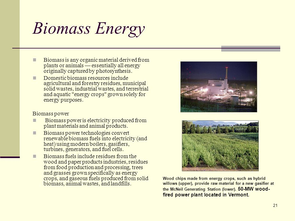 Biomass Energy Biomass is any organic material derived from plants or animals — essentially all energy originally captured by photosynthesis.