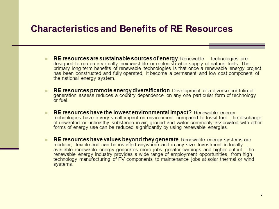 Characteristics and Benefits of RE Resources