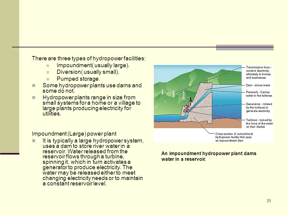 There are three types of hydropower facilities: