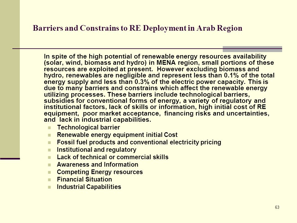 Barriers and Constrains to RE Deployment in Arab Region
