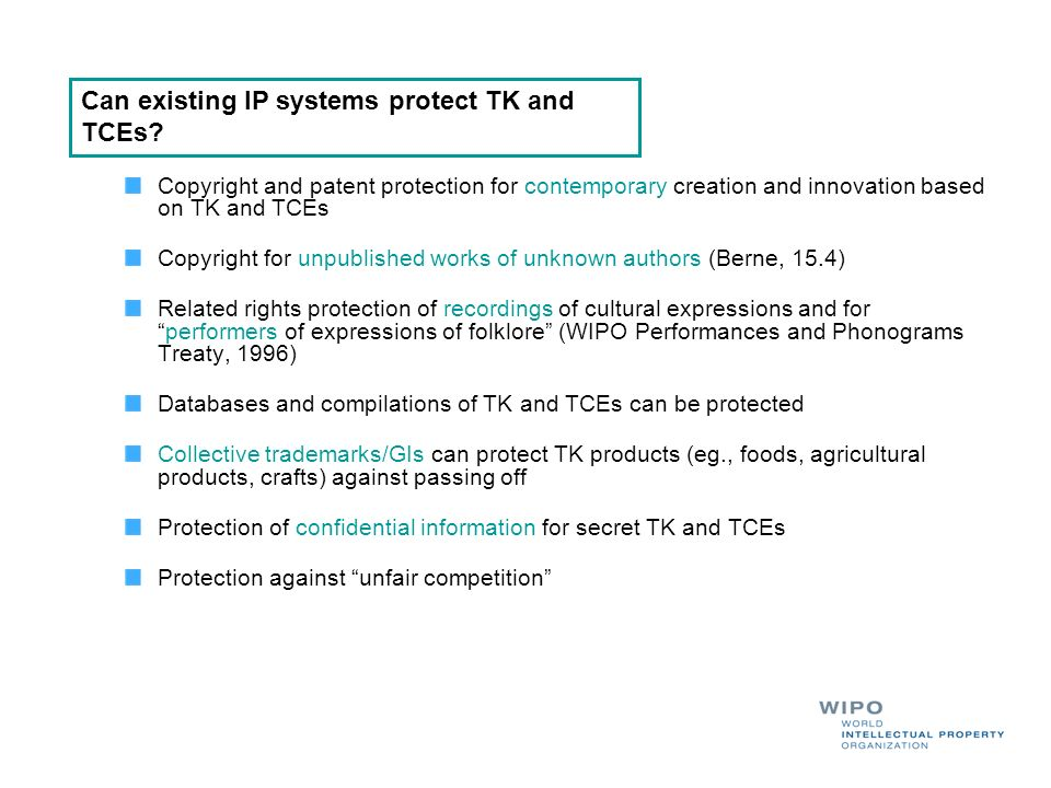 Can existing IP systems protect TK and TCEs