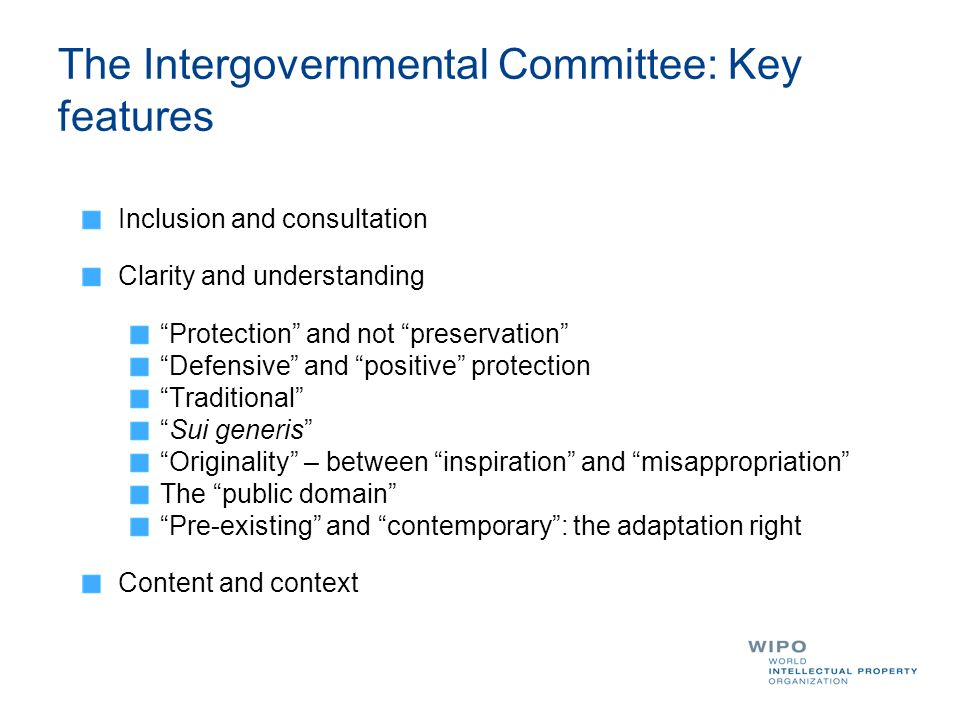 The Intergovernmental Committee: Key features