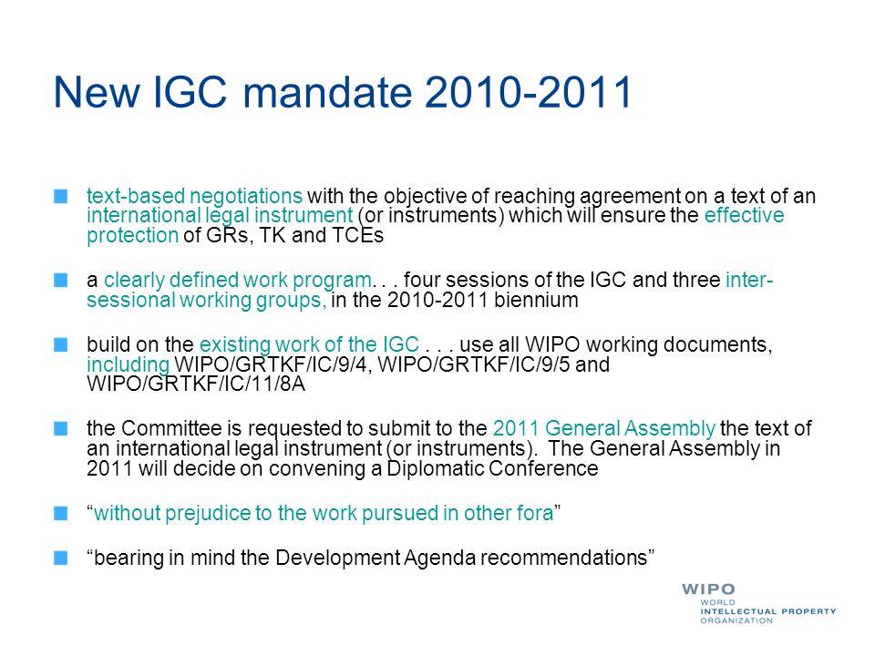 New IGC mandate 2010-2011