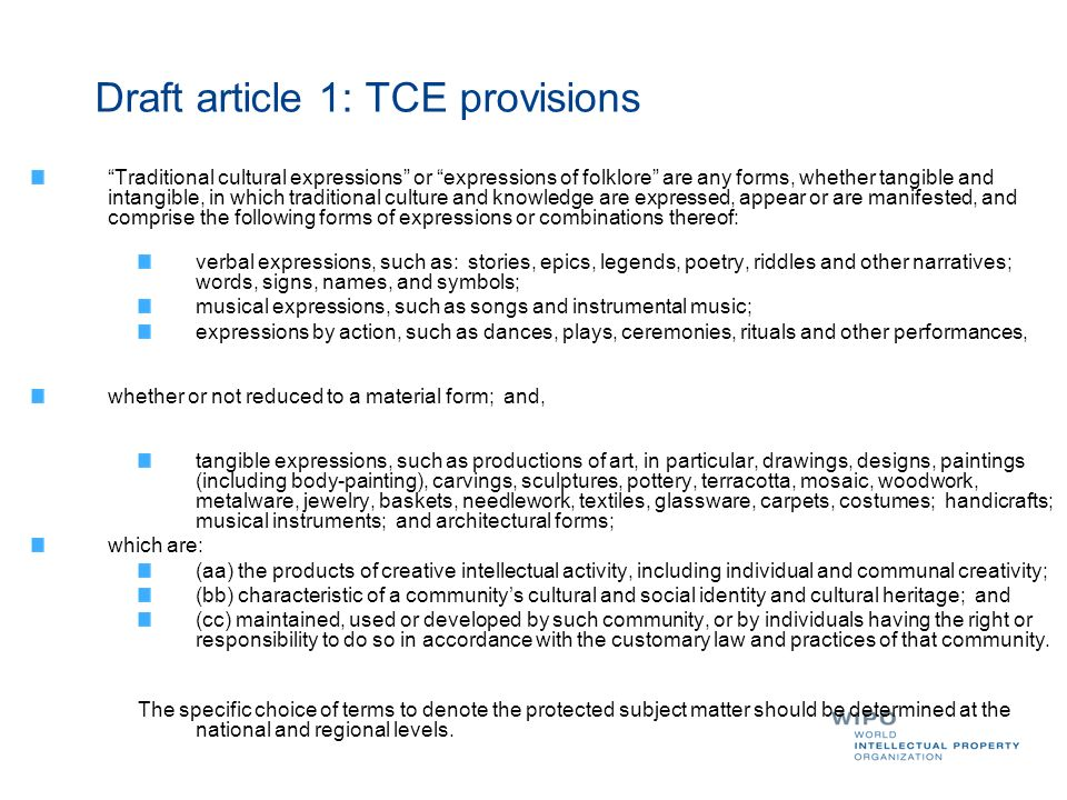 Draft article 1: TCE provisions