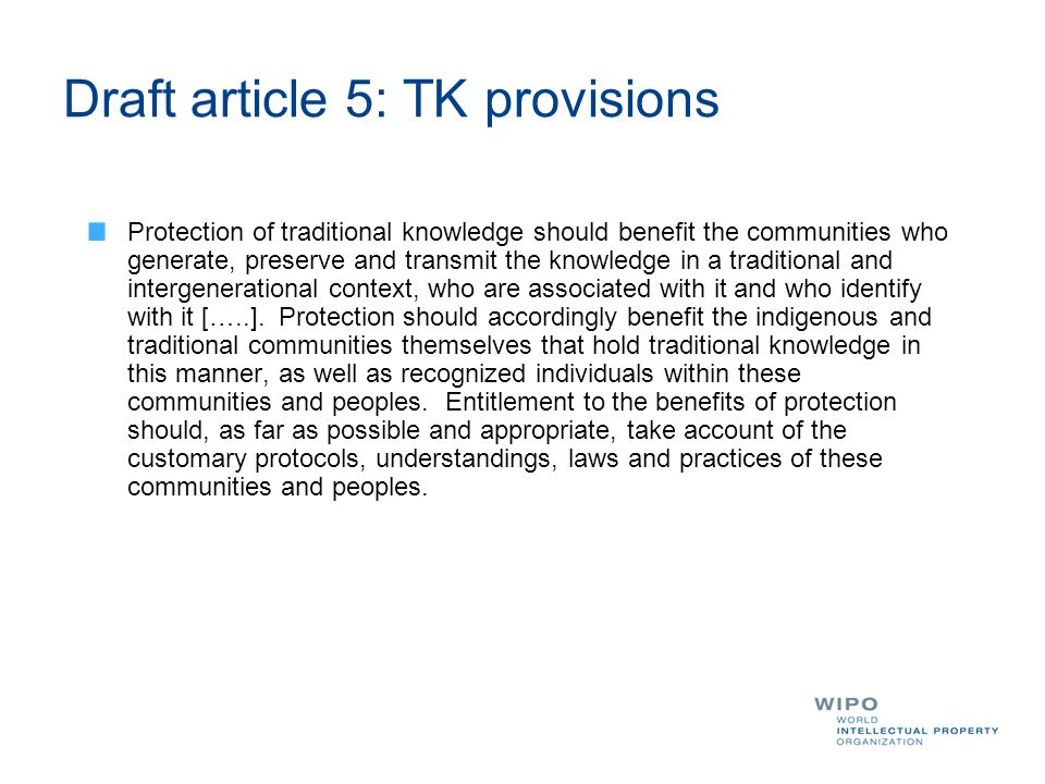 Draft article 5: TK provisions