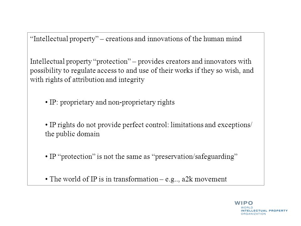 Intellectual property – creations and innovations of the human mind