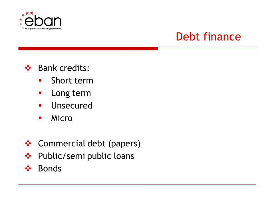 Debt finance Bank credits: Short term Long term Unsecured Micro