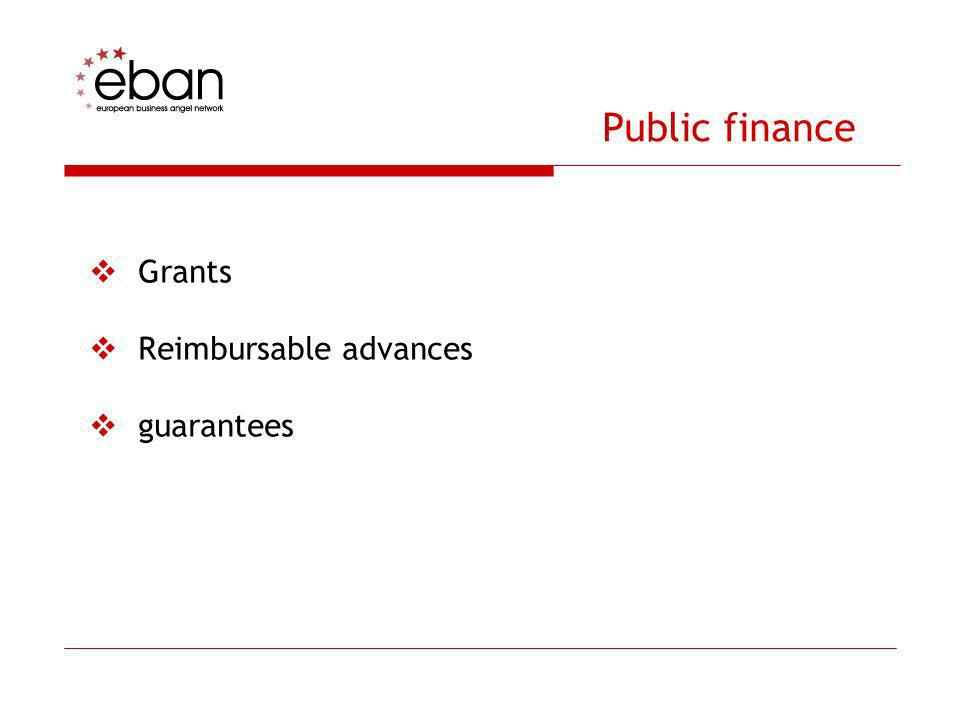 Public finance Grants Reimbursable advances guarantees