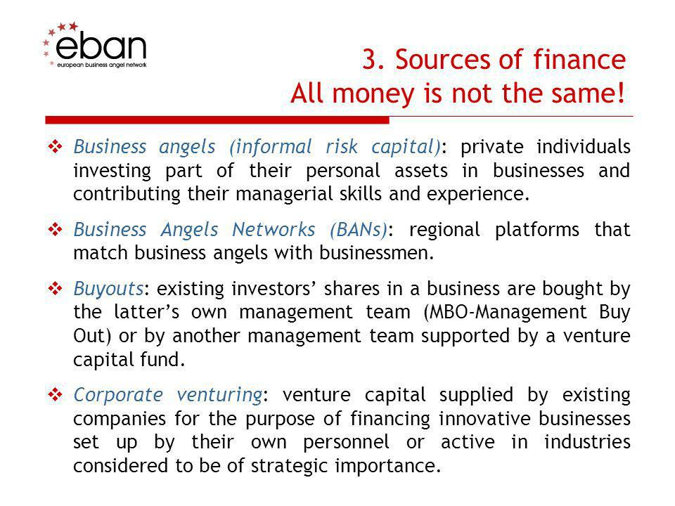 3. Sources of finance All money is not the same!