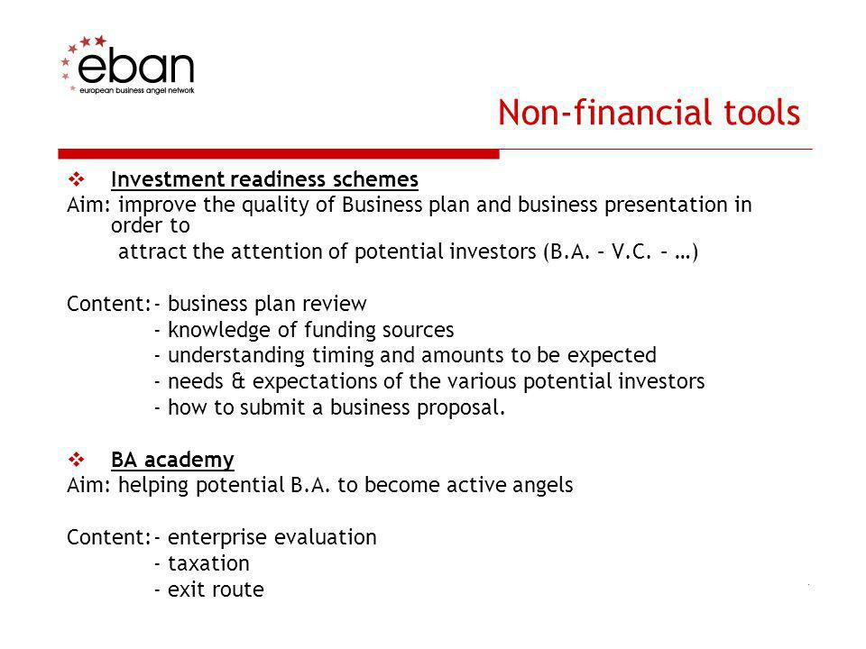 Non-financial tools Investment readiness schemes