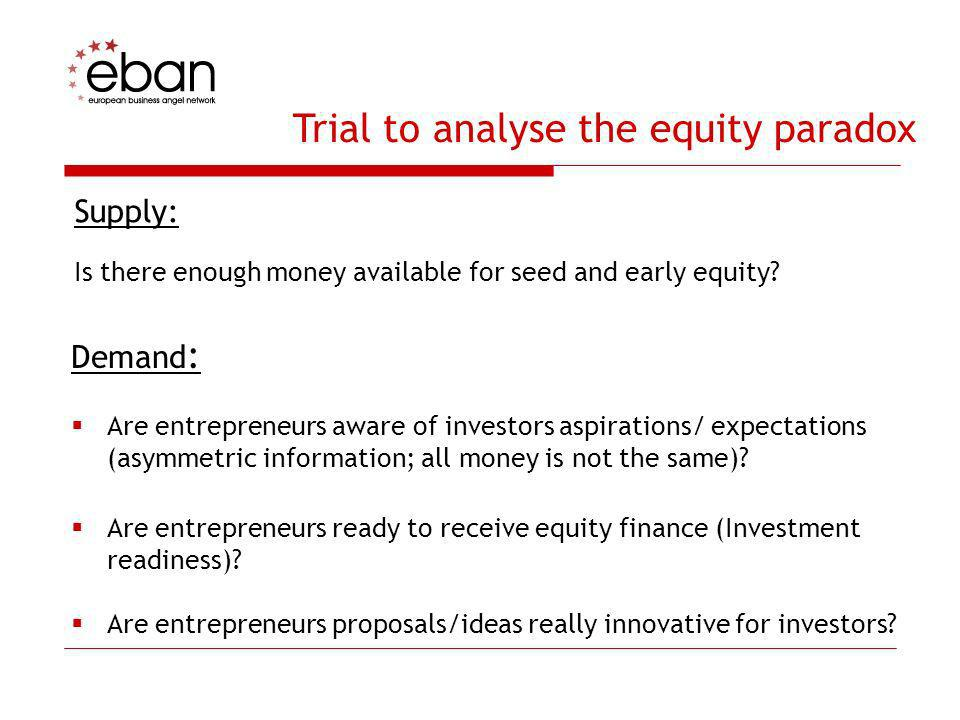 Trial to analyse the equity paradox