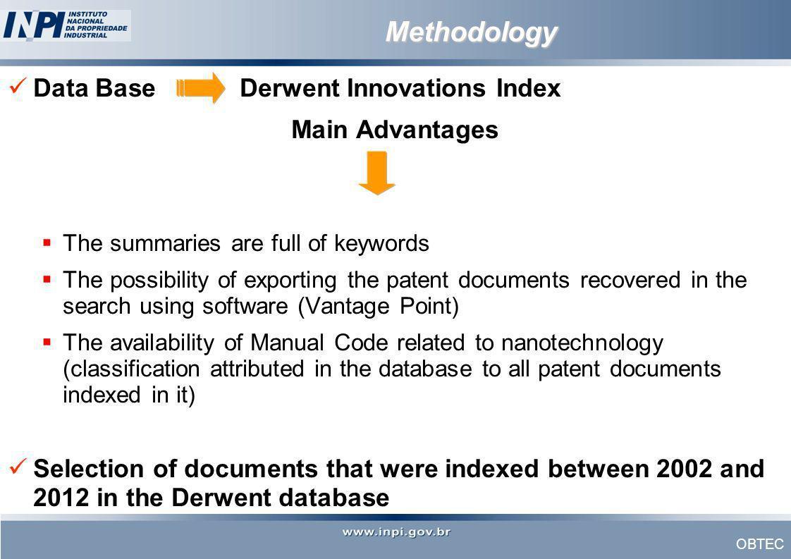 Methodology Data Base Derwent Innovations Index Main Advantages
