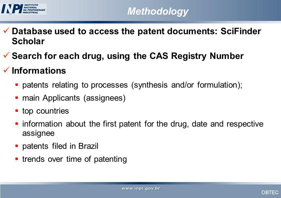 MethodologyDatabase used to access the patent documents: SciFinder Scholar. Search for each drug, using the CAS Registry Number.