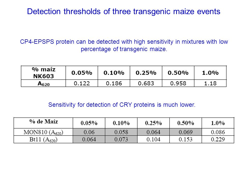 Detection thresholds of three transgenic maize events